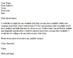 speculative cover letter example - Speculative Cover Letter Sample