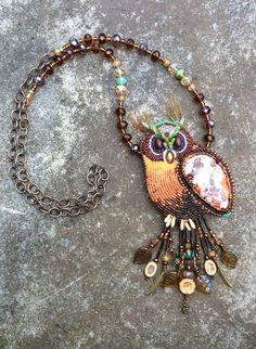 Spirit Guide Owl - Bead Embroidery gemstone Necklace - Jewelry Art - Beaded Statement Necklace - Boho Chic Owl by HollyBeanDesign on Etsy