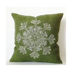 Christmas Pillow -Snowflake -Green Throw Pillows -Burlap Pillows Cover... ($32) ❤ liked on Polyvore featuring home, home decor, burlap home decor, green home accessories, christmas home decor and green home decor