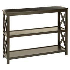 """SKU: WLI1376  Grand Console Table by Woodland Imports -SKU: WLI1376 - $218 -  32"""" H x 39"""" W x 12"""" D.  4.3/5 stars based on 9 reviews.  Black.  COMES ASSEMBLED!!!  Seems like best option for putting next to kitchen island."""