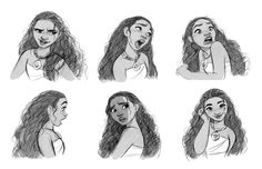 Moana facial expressions. It was very challenging to make her every expressions and attitudes look like a 14 year old girl. Drawing a girl is always much harder than drawing a male character at least for me.