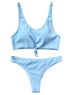 149d2e0c8bc25 Knotted Bralette High Cut Bikini Set