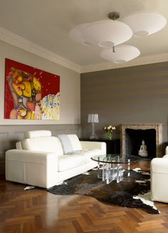 Floor: entry only? Wynnstay Gardens - contemporary - Living Room - London - Laura Hammett Ltd London Living Room, Room London, Striped Accent Walls, Room Paint Colors, Entertainment Room, Living Room Designs, Living Rooms, Beautiful Interiors, Home Furnishings