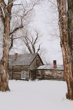 Old cabin in the woods...come sit by the warm fire.