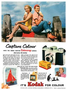 Vintage Kodak advertisement. Yes, we once used film. Really wasn't so very long ago. ;-)