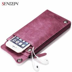 SENDEFN Genuine Leather Women Wallet Lady Clutch Zipper Phone Pocket Purse Female Wallet Designed for Couples