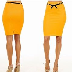 """Yellow Belted Pencil Skirt Stretchy material helps enhance comfort and fit. Comes with a feminine bow-style belt. Appropriate for the office or a night. 21.5"""" long. Skirts Pencil"""
