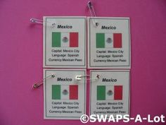 Mini Mexico: Flag, Capital Thinking Day SWAPS Kit for Girl Kids Scout makes 25