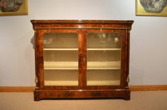 A Fine Victorian Period burr walnut & marquetry antique display cabinet.