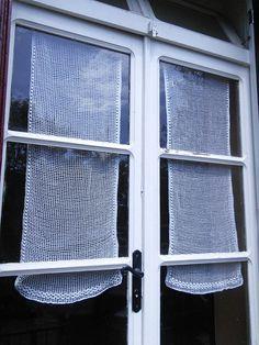 Pair Handmade Filet Crochet Lace Curtain Panels Hand Crochet