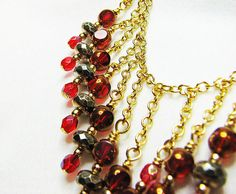 Red crystal bib necklace Gold chain necklace by ShopPretties, $55.00
