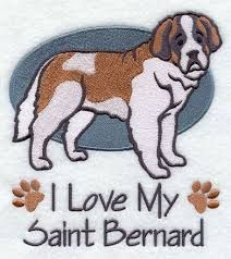 I Love my Saint Bernard- Saint Bernard Kitchen Towel- Embroidered KitchenTowel- I Love My Dog- Gift for the Dog Lover- Custom Embroidery by ShesSewVain on Etsy