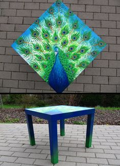 peacock painted on Ikea table