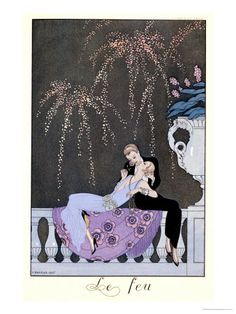 The Fire, Illustration for Fetes Galantes by Paul Verlaine 1924 Lámina giclée por Georges Barbier