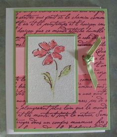 Stampin Up En Francais Glitter Embossed Floral Handmade Get Well Card - backgrounds Making Greeting Cards, Greeting Cards Handmade, Thanks Card, Stamping Up Cards, Rubber Stamping, Cricut, Get Well Cards, Shabby, Pretty Cards