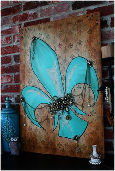 Mixed Media Art - Fleur De Lis Painting Angela Venable Art