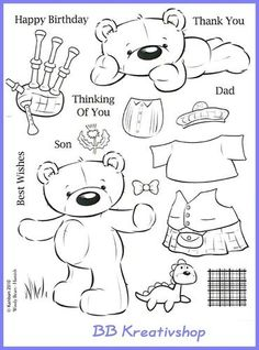 Digital Stamps Free Coloring Sheets Colouring Digi Teddy Bear Pages Copic Paper Dolls Planner Organization Stencils Print