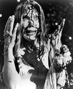 """Sissy Spacek in """"Carrie."""" The mother of all great lead actresses in a Stephen King adaptation- no words can fully express De Palma's terrifying masterpiece. Top 50 Horror Movies, Classic Horror Movies, Horror Show, Scary Movies, Great Movies, Horror Scream, Real Horror, Awesome Movies, Cult Movies"""