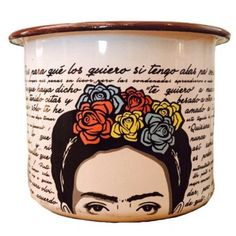 Frida Kahlo Enamel Coffee Cup Mug Enamelware Mexico Artist ($28) ❤ liked on Polyvore featuring home, kitchen & dining, drinkware, drink & barware, grey, home & living, enamel coffee cups, enamel mug and grey mugs