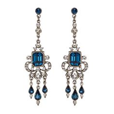 Ben-Amun Blue Swarovski Crystal Drop Earrings ($180) ❤ liked on Polyvore