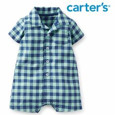 Macacão Polo Curto Bebê Menino Quadriculado Carters - Roupinhas e Enxoval para Bebê - Like Baby