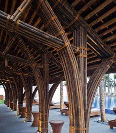 naman-retreat-beach-bar-vo-trong-ngia-architects-vietnam-designboom-02 Bamboo Architecture, Types Of Architecture, Bamboo Building, Bamboo Crafts, Beach Bars, Building Materials, Cabana, Vietnam, Stone