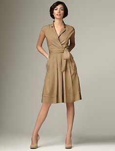 Talbots' cap-sleeve sash dress.  I love how neutral yet sexy this outfit is.
