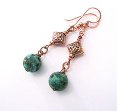 Sale Mosaic Turquoise Earrings Copper Beads by SendingLoveGallery