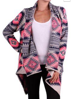 Pink & Navy Aztec Cardigan Small/medium