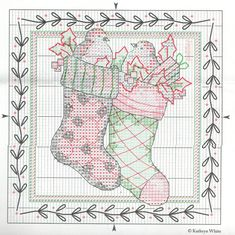 Cross-stitch Country Stockings... No color chart available, just use the pattern chart as your color guide.