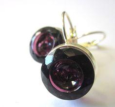 Vintage glass button earrings, PURPLE