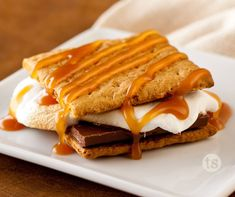S'mores with Creamy Caramel Sauce 0 Who knew S'mores could get any better!  The addition of the caramel drizzle creates a dessert treat beyond compare!  tastefullysimple.com/web/ezann