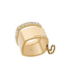 Pavé Gold-Tone Double Ring by Michael Kors