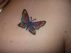 my pretty butterfly tattoo this was my best friends idea we got the same tattoo just below the collar bone. Rate of pictures of tattoos, submit your own tattoo picture or just rate others Butterfly Tattoos Images, Colorful Butterfly Tattoo, Small Butterfly Tattoo, Butterfly Tattoo Designs, Dragonfly Tattoo, Flower Tattoos, Tattoo Images, Tattoo Pics, Tattoo Zone