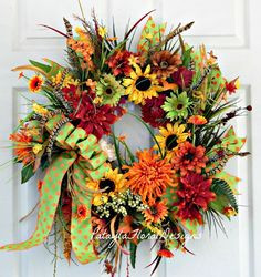 Fall Grapevine Wreath, Sunflowers And Mums, Outdoor Wreath, Wreath With Feathers, Rusty Orange Wreath, Green Yellow, Custom Designer Wreath by PataylaFloralDesigns on Etsy