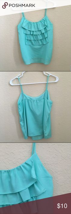 Mint Green Ruffle Tank Mint green ruffle tank top from Forever21. The tank is more green in real life than in the picture. I tried to get the true color to show up but it wouldn't work. I purchased it a couple years ago and only worn a couple times. Comes with a lining so it's not see through. It's made very nicely! Made in China. 100% Polyester. Forever 21 Tops Tank Tops