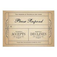 Vintage Wedding RSVP Vintage Wedding Ticket RSVP Card