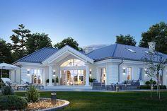 Dom nawiązuje stylistycznie do Modern Bungalow Exterior, Modern Bungalow House, Bungalow House Plans, Modern Farmhouse Exterior, Dream House Exterior, House Plans Mansion, My House Plans, House Outside Design, House Design Pictures