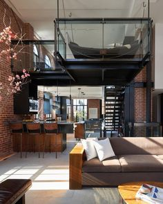 "22.8k Likes, 111 Comments - Architecture & Design Magazine (@d.signers) on Instagram: ""Love this loft! Perfect combination of textures!! Brick + Black Steel +Glass. Penthouse Loft…"""