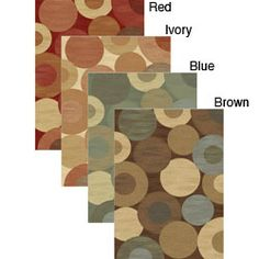 @Overstock - Point on point construction teams up with drop stitching to add extra strength and a carved look to this beautiful rug. This geometric charm rug features circles in shades of red, ivory, blue and brown.http://www.overstock.com/Home-Garden/Charm-Geometric-Circles-Rug-710-x-106/5878157/product.html?CID=214117 $219.52