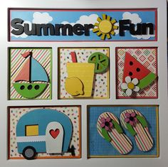 Summer Fun Shadow Box by Foundations Decor, Margaret Sidenstick for Scrappin' in the City. Decor Crafts, Wood Crafts, Paper Crafts, Diy Crafts, Box Frame Art, Shadow Box Frames, Easter Picture Frames, Magnetic Boards, Christmas Shadow Boxes