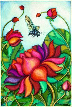 Original Floral Painting by R Neeta Art Painting Tools, Lotus Painting, Acrylic Painting Flowers, Mural Painting, Abstract Flowers, Painting & Drawing, Watercolor Painting, Lotus Art, Pink Lotus
