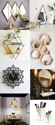 Bedroom diy ideas creative room decor 18 Ideas for 2019 Diy Home Decor Bedroom, Home Decor Furniture, Diy Crafts Hacks, Home Crafts, Creative Wall Decor, Cute Room Decor, Geometric Decor, Home Decor Accessories, Trends