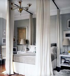 Bedroom, : Modern Canopy Bed With Heavy Weighted Curtains And Modern Gray Bedroom Interior Ideas