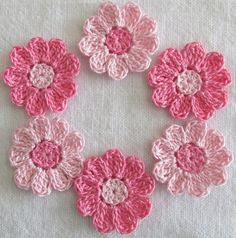 Pink Crochet Flower Appliques Embellishments by IreneStitches