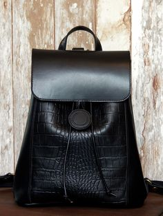 Handmade leather backpack No 5 ELLE ..... elegant black with croco printed leather .....