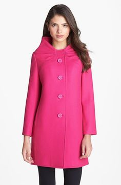 Arielle Pink Wool Coat with Fur Pom-Poms | Pink wool coat, Pom ...
