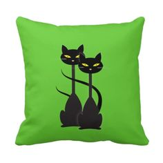 Two Black Cats with Long Necks on Green Throw Pillow