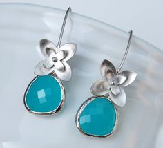 Dew Drop Earrings White Gold with Mint Opal Blue Jewel by CMDetc, $26.00