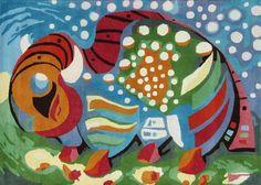 "Buffalo Carpet ""Guitar Buffalo"" ca.189x265cm cozy woolen  work of art"